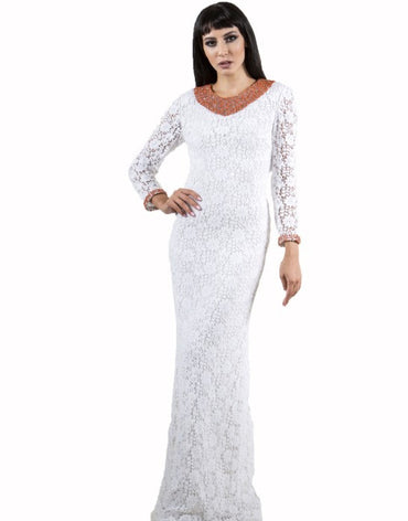 White Lace Maxi Dress - Haute Elan