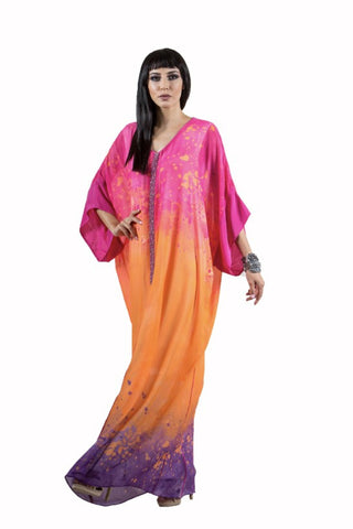 Pink/Orange Printed Kaftan