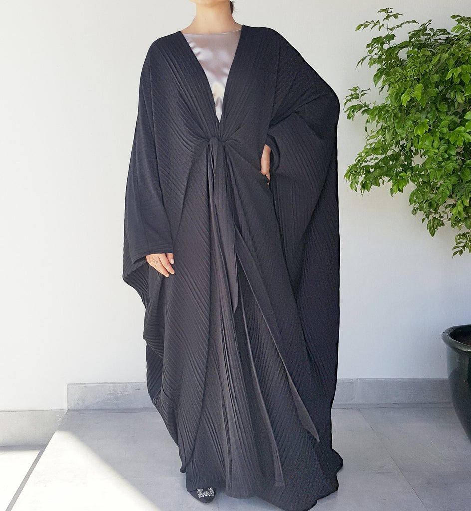 Black pleated Abayah with Belt