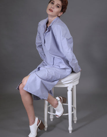 Basic Long Blue Shirt-dress