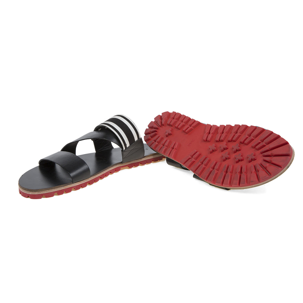 Leather Multi-Strap Sandals with Red Lug Sole and Grosgrain Trim