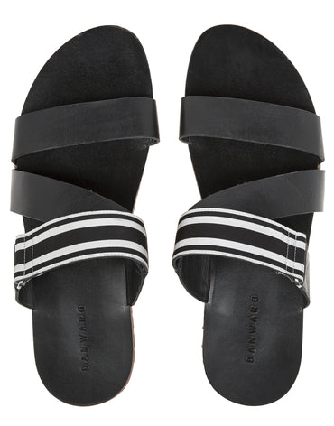 Leather Multi-Strap Sandals with Red Lug Sole and Grosgrain Trim - Haute Elan
