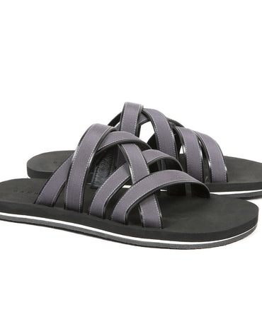 Leather & Cotton Webbed Multi-Strapped Sandals with Bi-Color Micro Sole - Haute Elan