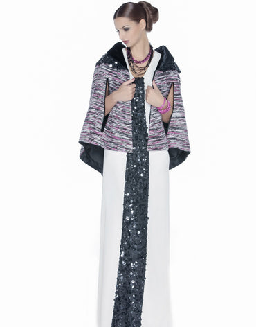 Maxi Dress with Tweed Cape - Haute Elan