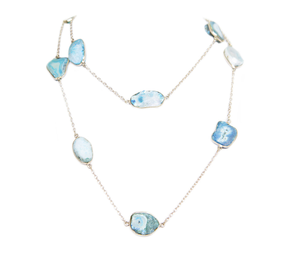 DRUZY NECKLACE AQUA BLUE