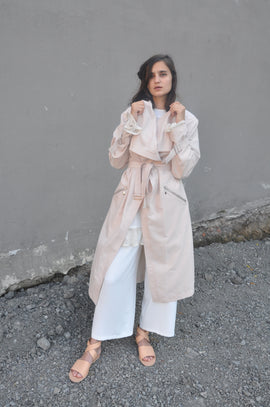 VISCOSE BEIGE TRENCHCOAT