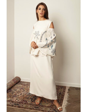 Off shoulder Peplum White Kaftan