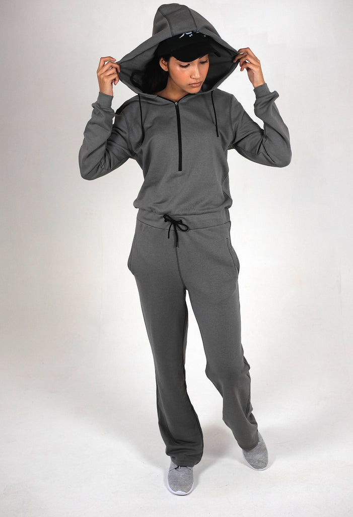 GREY WIDE LEG RELAXED JUMPSUIT