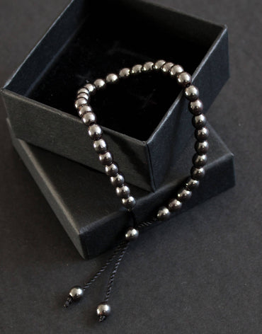 33 Bead Tasbih Bracelet Round Hematite - Gun Metal Grey by Safar London