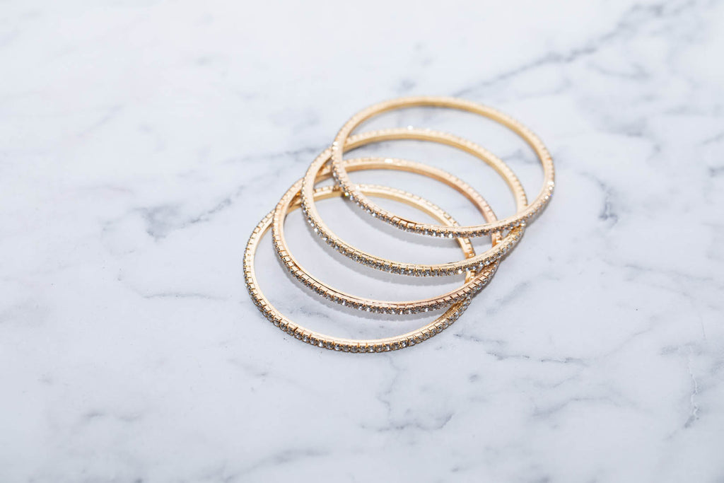 Stunning Bangles In Gold With Diamonds