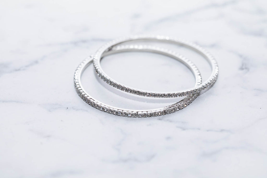Stunning Bangles In Silver With Diamonds