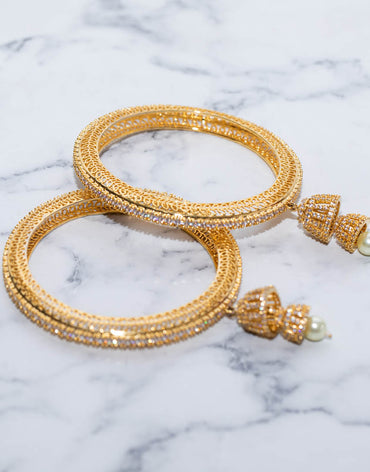 Zara's Diamond & GOLD BANGLE With White Fresh Water Pearls