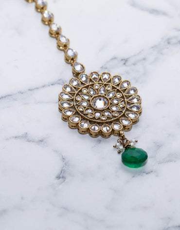 Zara Tikka Head Piece With Diamonds And Green Fresh Water Pearl