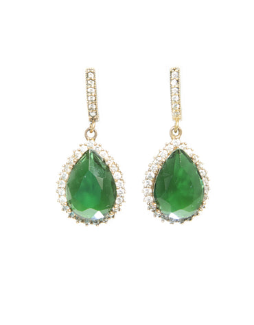 AMINA EMERALD QUARTZ EARRINGS - Haute Elan