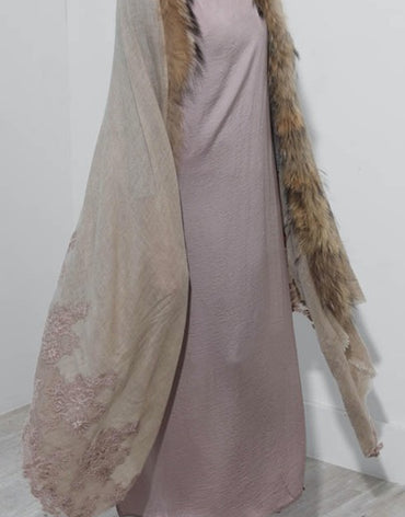 Beige Lace And Fur on Beige Shawl