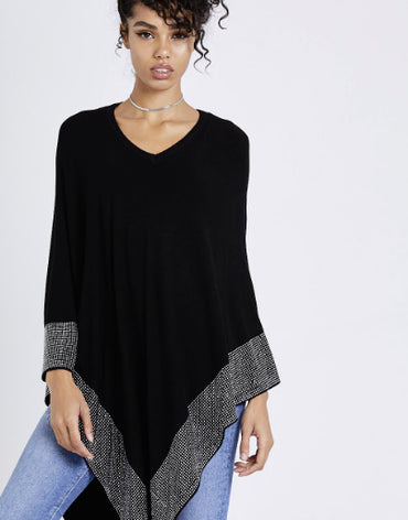 Fine Knitted Asymmetric Poncho with Stud Embellished Hem