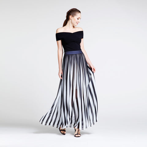 Black & White Pleated Chiffon Skirt