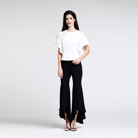 Black Wide Leg Pants with Ruffles