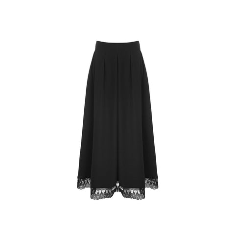 Black Ankle Length Skirt with Lace Trim