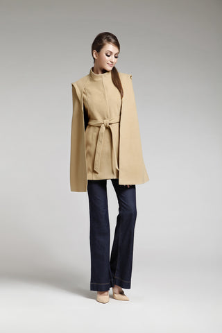 Camel Viscose Blend Belted Cape Coat