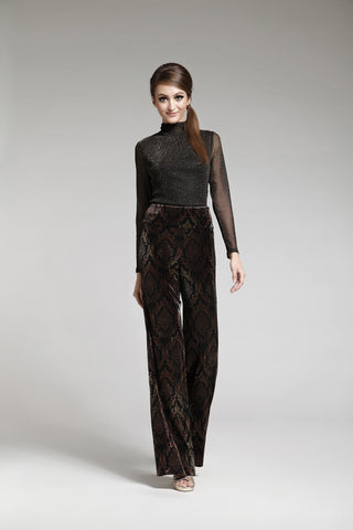Bronze/Black Printed Jersey Dévoré Pants