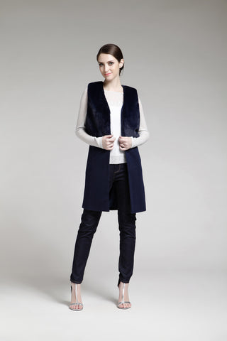 Navy Blue Faux Fur and Brushed Woven 2-in-1 Gilet