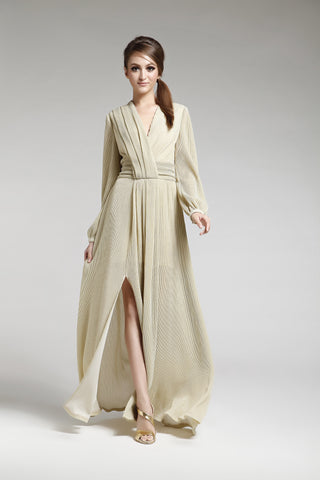 Metallic Gold Jersey Maxi Dress