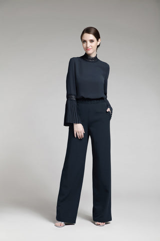 Navy Blue Crepe Pants
