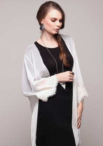 White Chiffon Cardigan with Lace Trimmings