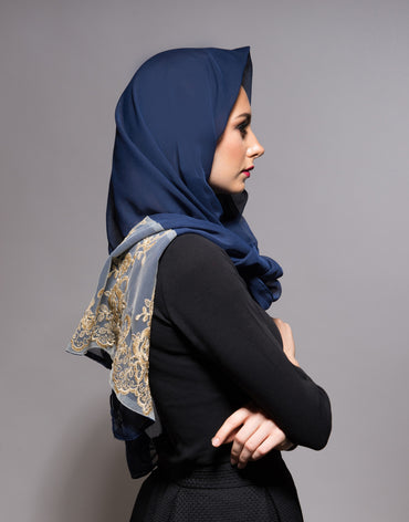 Navy Blue Scarf with Gold Lace - Haute Elan