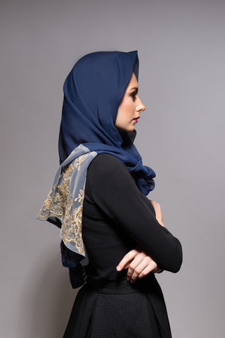 Navy Blue Scarf with Gold Lace