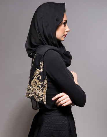 Black Scarf with Gold Lace