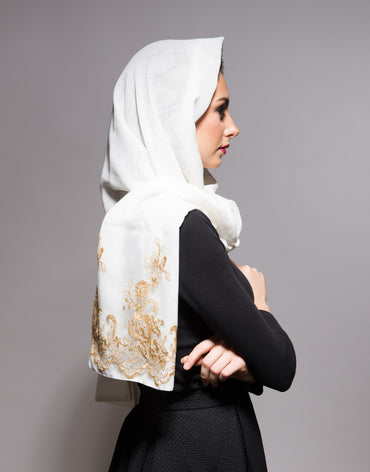 Off-White Scarf with Gold Lace