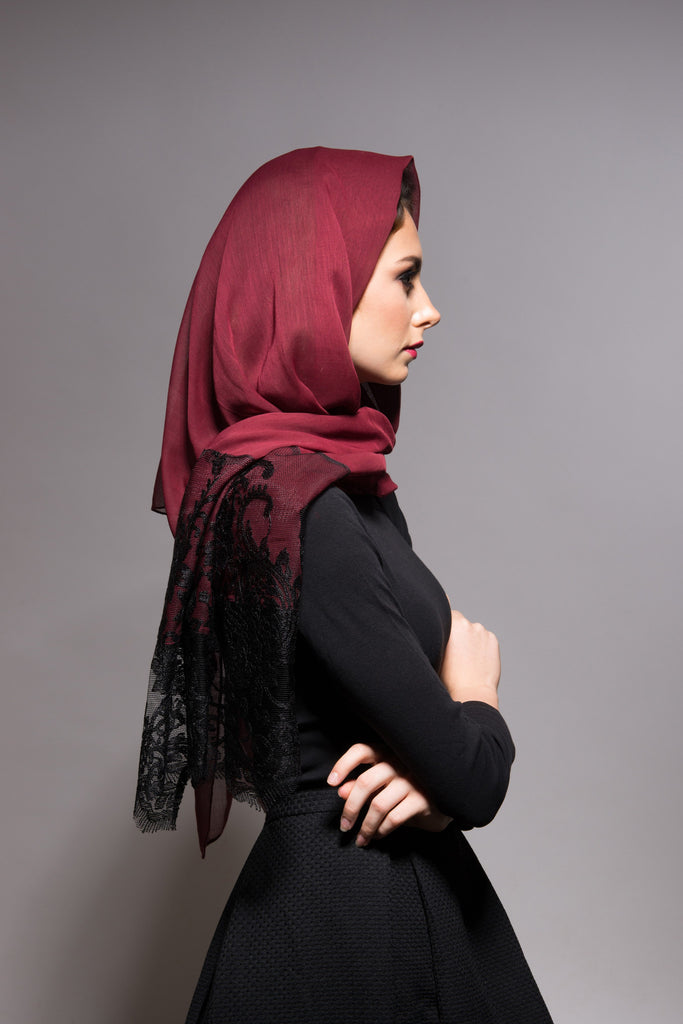 Royal Red Scarf with Black Lace
