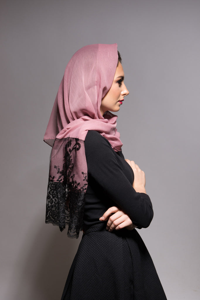 Rose Pink Scarf with Black Embroidery