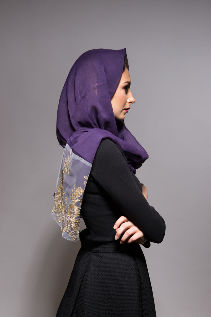 Purple Scarf with Gold Lace - Haute Elan