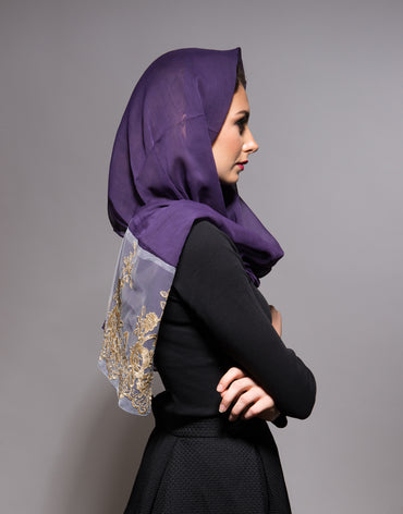 Purple Scarf with Gold Lace