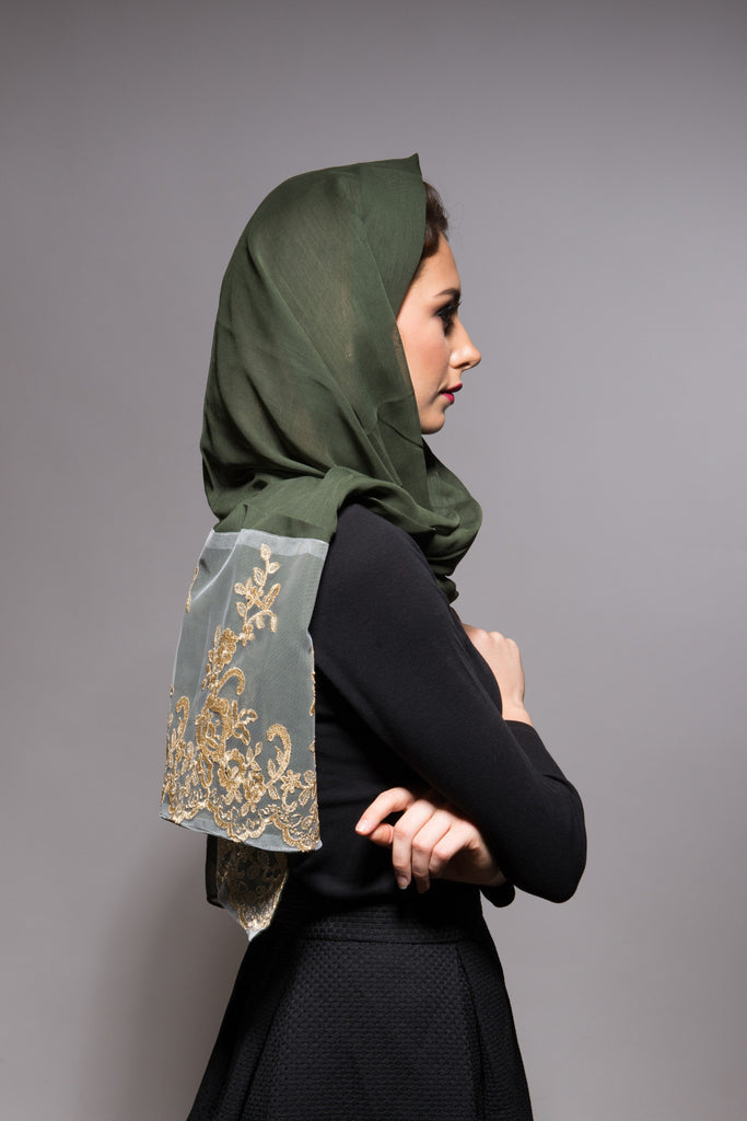 Olive Green Scarf with Gold Lace