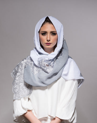 White/Grey Scarf with Grey Embroidery