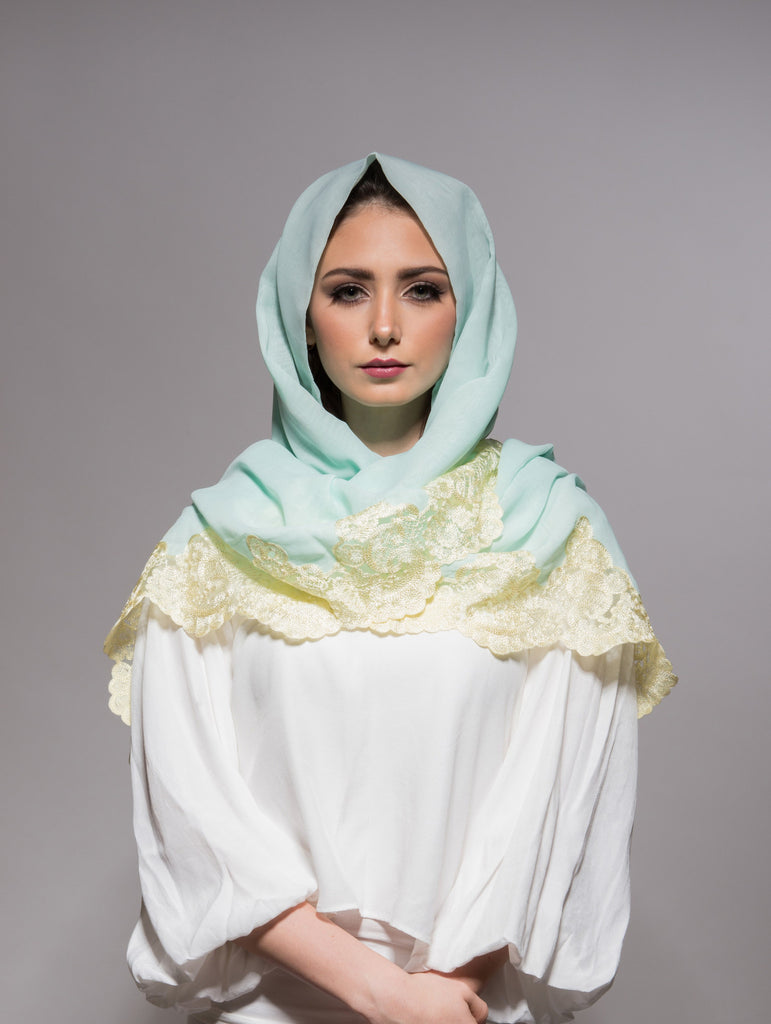 Tiffany Blue Scarf with Lemon Yellow Embroidery - Haute Elan