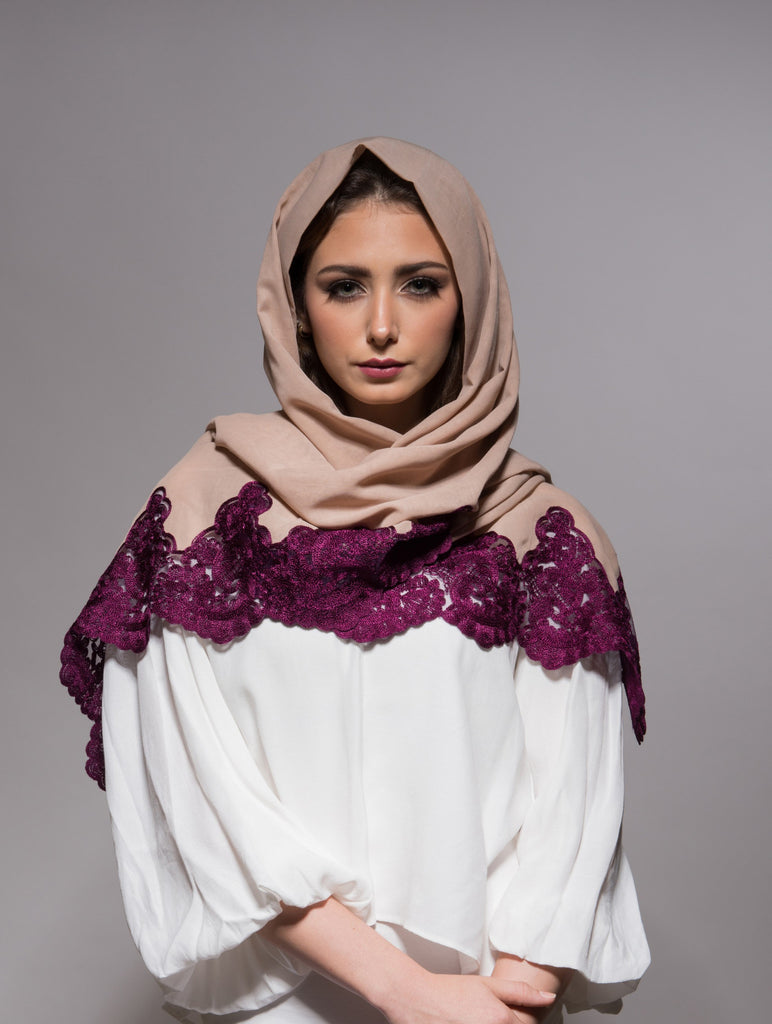 Pinkish Beige Scarf with Fuchsia Pink Embroidery - Haute Elan