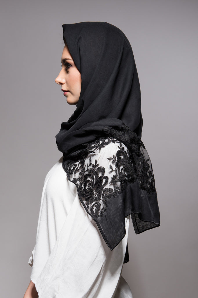 Black Scarf with Black Embroidery