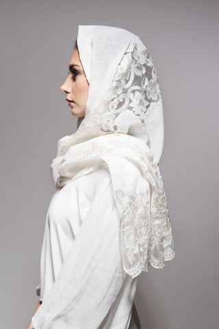 Ivory White Scarf with Off-White Embroidery