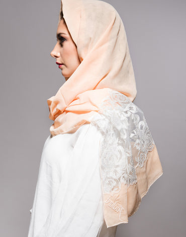 Peach Scarf with White Embroidery