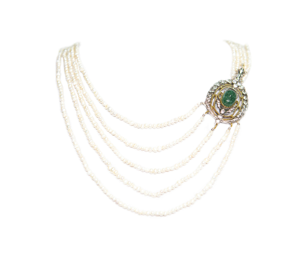 GREEN GEMSTONE SHEZADI NECKLACE