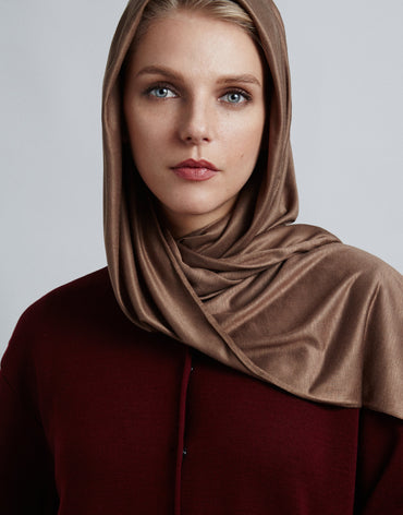Light Brown Jersey Scarf - Haute Elan