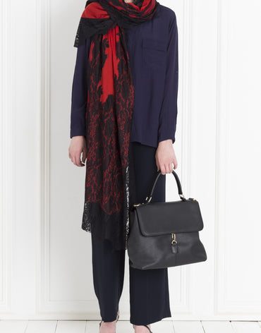 BLACK LACE ON RED SHAWL - Haute Elan