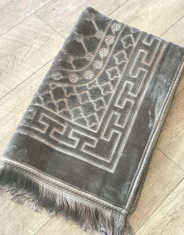 Contemporary Prayer Mat - Sejadah in Silver Grey - Haute Elan