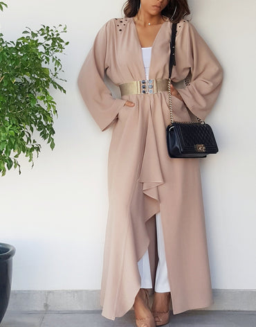 Semi Waterfall Nude Crepe Abaya With Matt Gold Elasticated Belt and Studs - Haute Elan