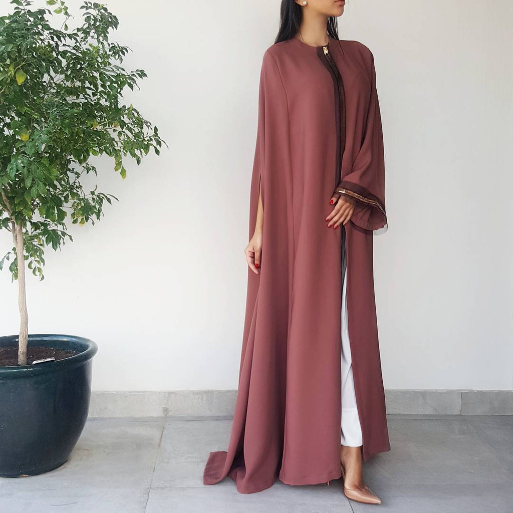 SEMI-CAPE ABAYA IN RUST WITH GOLD& TULLE